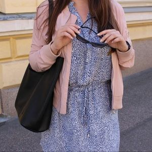 Blue and White Spotted Drawstring Dress
